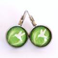 Bird & Green Silver Earrings
