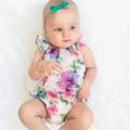 Rainbow Rose voile Baby Playsuit / Onesie