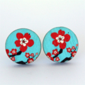 Red & Turquoise Blossom Earrings Studs