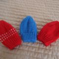 *Special * 3 beanies: Size 0-6 mths knitted Beanie; Blue, Red/White, Red