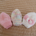 *Special * 3 beanies: Size 0-6 mths in White, Multi colour, Pink