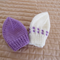 *Special * 2 beanies: Size 0-6 mths knitted Beanie in White/purple, Purple