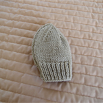 Size 0 - 6 mths hand knitted beanie in Camel; unisex, machine washable