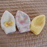 *Special * 3 beanies: New born beanies in White, Lemon, Multi colour