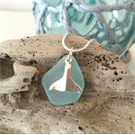 Blue Sea Glass Whale Tail Pendant