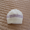 Size Prem hand knitted beanie in White/purple: practical, machine washable