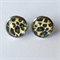 Leopard Print Earrings -glass, stud, retro, surgical stainless steel, rockabilly