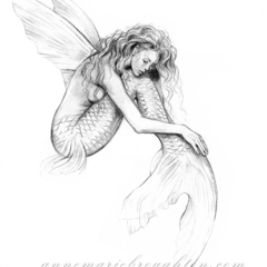 8x10 Mermaid's Drift Pencil Drawing Art Print