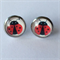 Ladybug Earrings -glass, stud, retro woodland, surgical stainless steel