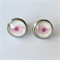 Pink Bird Earrings -glass, stud, retro woodland, surgical stainless steel