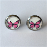 Pink Butterfly Earrings -glass, stud, retro woodland, surgical stainless steel