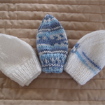*Special * 3 Prem beanies in Blue, Multi colour, White: machine washable