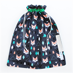 Library Bag Drawstring - Geometric Fox and Tree - LIB118 - Boy or Girl