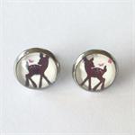 Little Deer Earrings - glass, stud, retro, surgical stainless steel, woodland