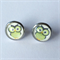 Green Owl Earrings -glass, stud, retro woodland, surgical stainless steel