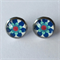 Blue Flower Earrings -glass, stud, retro daisy, surgical stainless steel