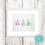 TeePee Trio Mixed Media Original in Pastel Watercolours - 8x10 inch