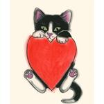 Valentine's Love Heart Kitten print - 10cm X 15cm print