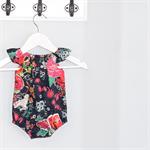 Nark Navy & Bright rose & floral Baby Playsuit / Onesie