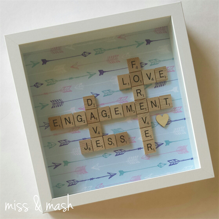 custom made wedding engagement name frame personalised scrabble art gift present - Engagement Photo Frame