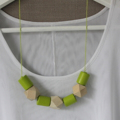 Lime green and natural wood necklace