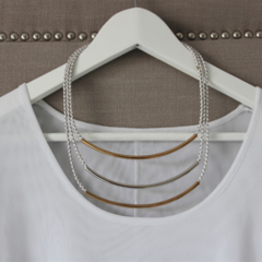 Three strand plaited leather necklace