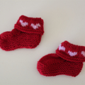 Valentine Heart Red Booties - Hand knitted in Pure Wool