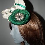 Emerald Ritz..SALE ON Green Cream sculptured headpiece fascinator hat racehat