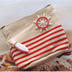 Nautical Red Stripe Canvas Coin Purse Bag