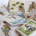 Whales - Australian wildlife art greeting card. Pencil illustration. blue ocean