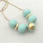 Mint, White and Gold Leaf Polymer Clay Necklace