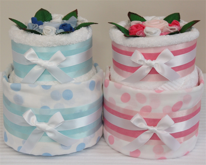 2 Tier Silver Nappy Cake - Baby Shower Diaper Cake New Baby Gift Hamper Sydney ...