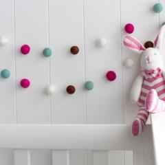 Felt Ball Garland.Pink Aqua Pom Pom Garland.Girls Room.Party.Nursery Decor