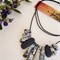 Fraggle Rock Necklace - Charcoal/Pastel Blue/Cream (SALE)