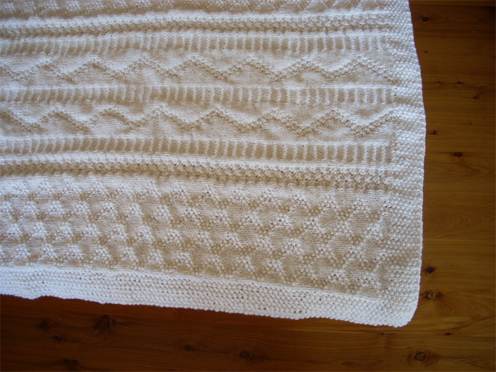 White Baby Pram Cover Blanket Hand Knitted Daisy