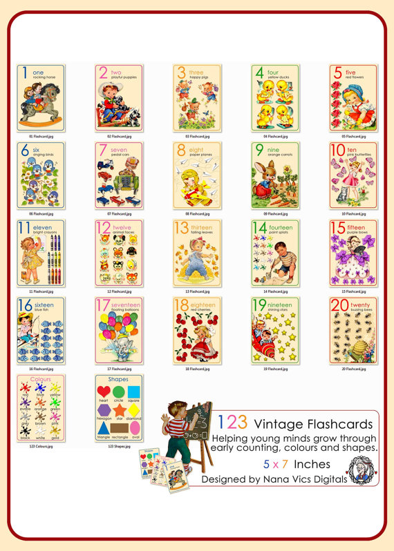 123 vintage flash cards laminated  creative butterfly