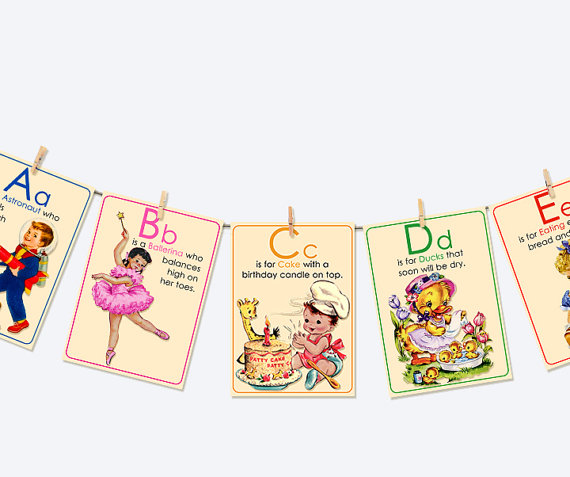 abc vintage flash cards laminated  creative butterfly