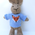 Ben the  Hand Knitted Bunny Rabbit Toy with Pale Blue Fox Jumper
