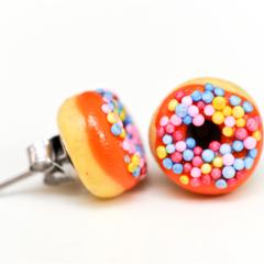 Donut - studs Orange donut stud earrings - sprinkles