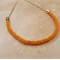 Braided Mustard Yellow Kumihimo Rope Necklace with Silver Findngs