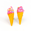 Strawberry - hot pink - ice cream cones with sprinkles stud earrings