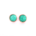 Aqua Eco Resin Druzy Earrings - Copper Setting