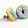 Donut studs - Bright blue donut stud earrings - sprinkles