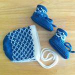 Hand Knit, 0-3m Baby Wool Bonnet Hat & Bootie Set, Cream / Teal