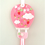 Hot air balloon hair clips holder, felt, pink, strawberry, berry, wall hanging