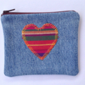 Upcycled Denim Purse with Appliqued Heart