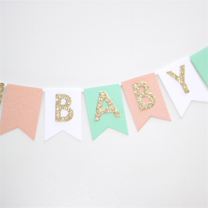 Bunting Cake Topper   Baby Shower Peach, Mint, Gold Glitter And White