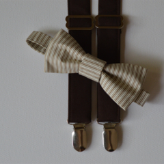 Brown braces and bow tie set - boys formal clothes, photo shoot, dark brown