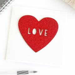 Love card red glitter Anniversary Engagement Wedding Valentine's Day
