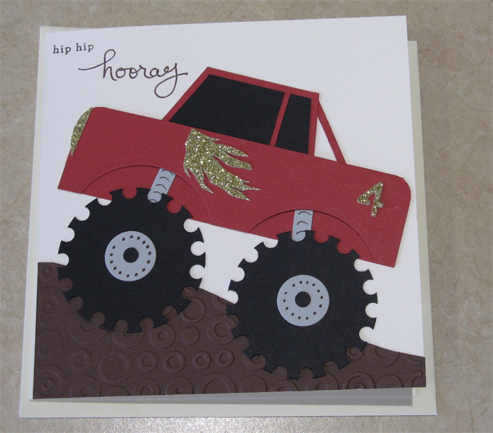 Handmade boys 4th birthday card red monster truck rock paper handmade boys 4th birthday card red monster truck bookmarktalkfo Image collections
